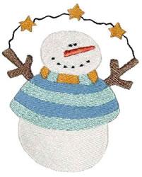 Primitive Starry Snowman embroidery design