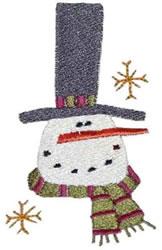 Primitive Tophat Snowman embroidery design