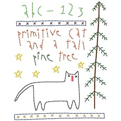 Prim Cat and Tree embroidery design