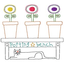 Potting Bench embroidery design
