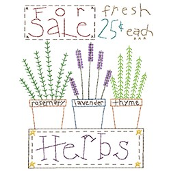 Fresh Herbs embroidery design