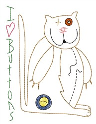 Button Cat embroidery design