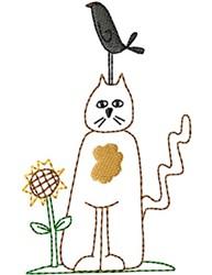 Primitive Crow & Sunflower embroidery design