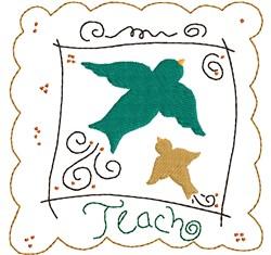 Teach Birds embroidery design