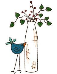 Vase Bird embroidery design