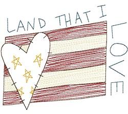 Land I Love Flag embroidery design