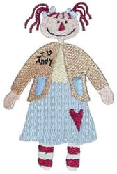 I Love Andy Doll embroidery design