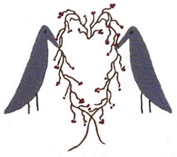 Crows with Heart Vine embroidery design