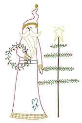 Santa and Feather Tree-Outline embroidery design