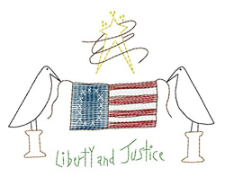Liberty and Justice embroidery design