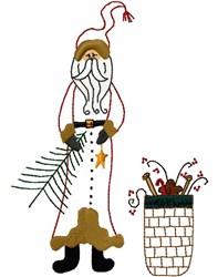 Primitive Santa & Tree embroidery design