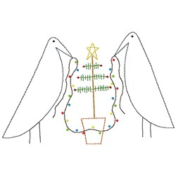 Crows w/Lights-outline embroidery design