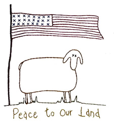 Peace Sheep embroidery design