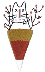 Candy Corn Cat embroidery design