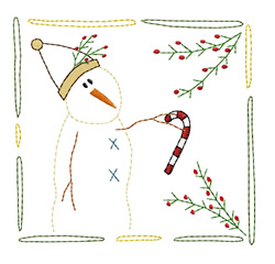 Snowman Quilt Square embroidery design