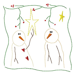 Snow Couple Quilt Square embroidery design