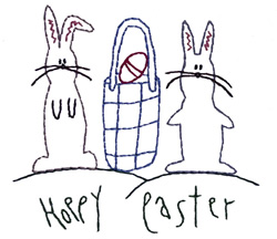 Hoppy Easter Outline embroidery design