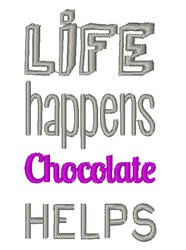 Chocolate Helps embroidery design