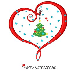 Merry Christmas Heart embroidery design