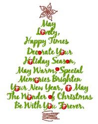 Christmas Sayings Tree embroidery design