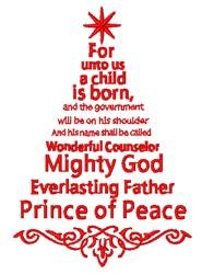 Religious Saying Christmas Tree embroidery design