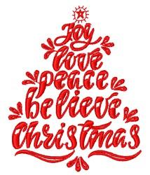 Joy Love & Peace embroidery design