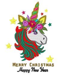 Merry Christmas Unicorn embroidery design