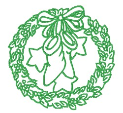 Christmas Stocking & Wreath embroidery design