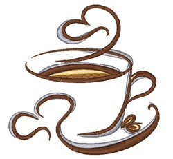 Swirling Coffee Outline embroidery design