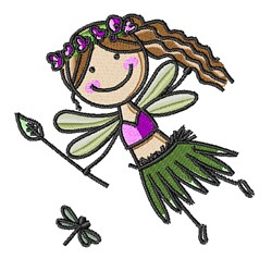 Dragonfly Girl embroidery design