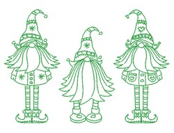 Greenwork Gnomes embroidery design