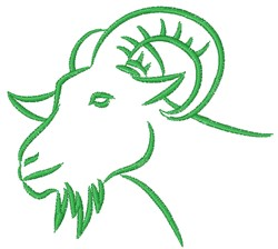 Green Goat Outline embroidery design