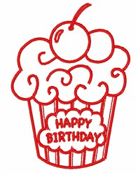 Happy Birthday Cupcake Outline embroidery design