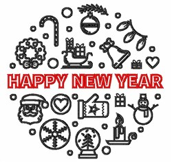 Happy New Year Outline embroidery design