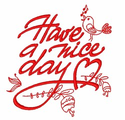 Have A Nice Day Redwork embroidery design