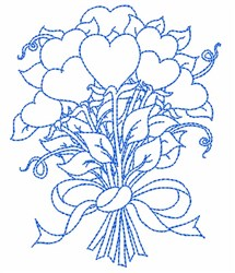Outline Bouquet Of Hearts embroidery design