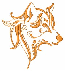Artistic Wolf Outline embroidery design