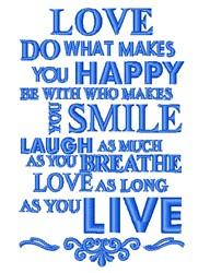 Live Smile Love embroidery design