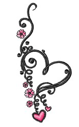 Flowered Heart embroidery design