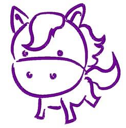 Cartoon Pony Outline embroidery design