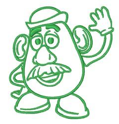Mr. Potatohead Outline embroidery design