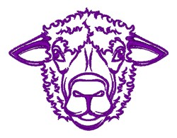 Sheep Head Outline embroidery design