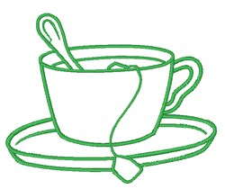Tea Cup Outline embroidery design