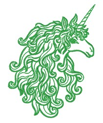 Curly Mane Unicorn embroidery design