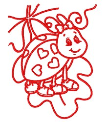 Ladybug Outline embroidery design