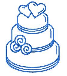 Wedding Cake Outline embroidery design