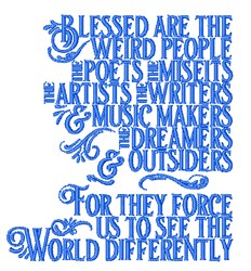 Blessed Are Weird People embroidery design