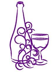 Decorative Wine Bottle Outline embroidery design