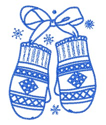 Christmas Mittens Outline embroidery design