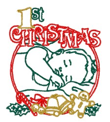 1st Christmas embroidery design